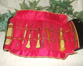 Vintage French manicure set celluloid manicure kit RAU 1940s