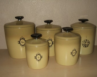 Vintage West Bend canister set aluminum harvest gold flour sugar coffee tea grease canister retro vintage wedding gift brown and gold