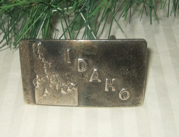 Vintage Idaho belt buckle, hand crafted stainless steel.  30D belt buckle.  Free shipping USA