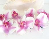Orchid Hair Clips, Hula, Wedding, Bridal, Luau, Pink and White, wedding hair, hula hair, orchid, hawaiian wedding, orchid clips,natashaaloha