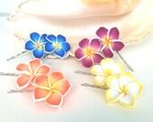 Hawaiian Hair Pins, Plumeria Hair Pins, Bobby Pins, Wedding Hair, Hula Hair, Flower Accessories, flower pins