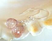 Pink Glass Briolette Sterling Silver Earrings, Wedding Earrings, Briolettes, Sterling Silver Earrings