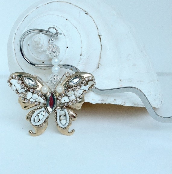 Gold and Silver Jeweled Butterfly Keepsake Bookmark
