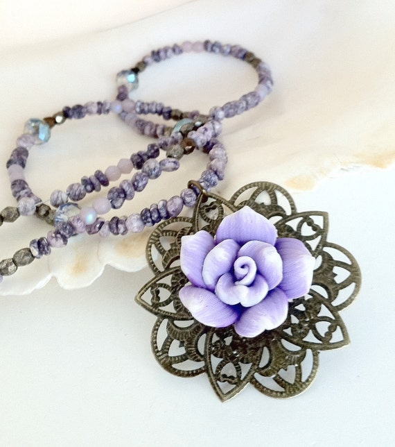 Polymer Clay Rose Gemstone and Crystal Necklace