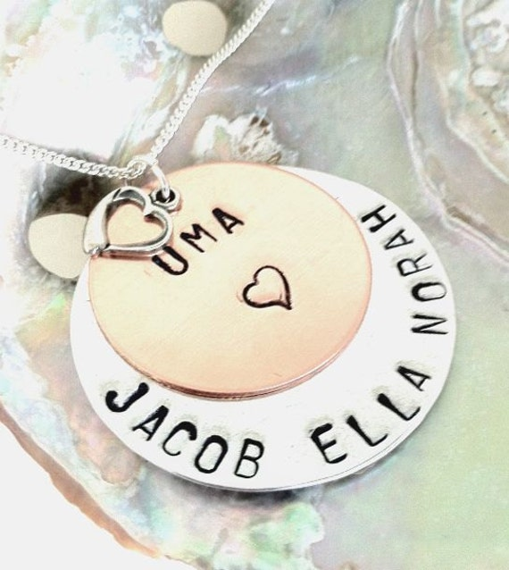 Personalized Hand Stamped Necklace, Mother Necklace, Grandma Necklace, Gifts for Mom, Personalized Necklace, natashaaloha