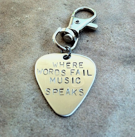 key chain, pick, where words fail music speaks, guitar pick, pick keychain, hand stamped keychain, gifts for dad, gifts for him, music gift