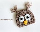 Newborn size tan owl style crochet hat photo prop hat FREE SHIPPING