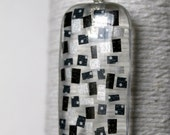 Black and Silver Washi Tape Mosaic on Glass Pendant