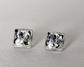 Black and Silver Swirl Glass Post Earrings