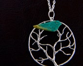 Necklace with Turquoise Bird and Tree Charm on Silver Plated Chain