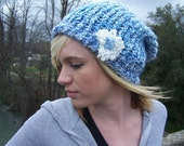 Light Blue Slouchy Beanie w/ Flower