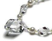 TIFFANY Clear Swarovski Crystal & White Pearl Necklace