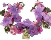 Alice in Wonderland Garden Tea Party Floral Crystal Antique Brass Charm Bracelet, Pink Purple Flower Bracelet