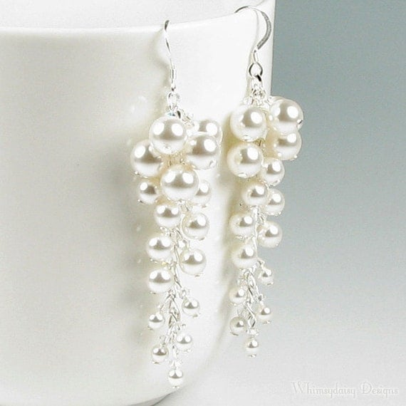 April in Paris, White Pearl Cluster And Swarovski Crystal Long Silver Earrings, Romantic Cascading Wedding Jewelry, Mother of the Bride Gift