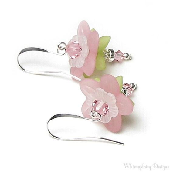 Apple Blossom Earrings, Swarovski Crystal Silver Pink Spring Flower Earrings Cherry Blossom Green White Gift For Women, Mother's Day Jewelry