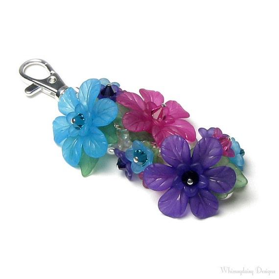 Colorful Summer Garden Floral Crystal Pearl Cluster Silver Handbag Charm Keychain
