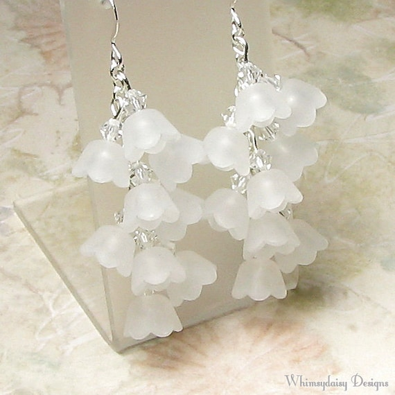 Lily of the Valley White Floral Cluster Crystal Earrings, Spring Earrings, White Flower Earrings, Acrylic Earrings, Spring Flower Jewelry