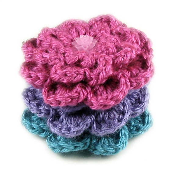 Party Brights Set of Three Crocheted Floral Bobby Pins