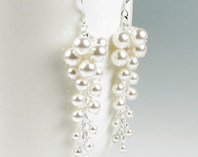 April in Paris White Pearl Cluster And Swarovski Crystal Silver Earrings Long Romantic Cascading Wedding Bridal Jewelry or Bridesmaids Gifts