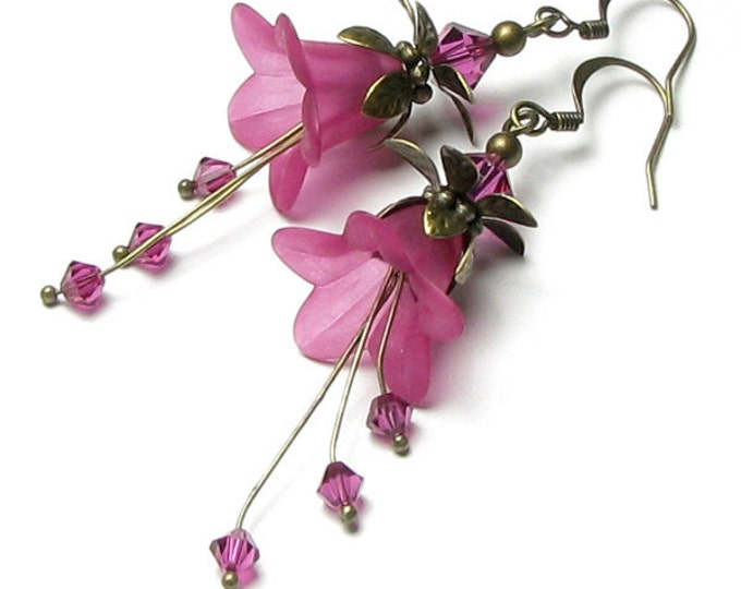 Exotic Fuchsia Flower Fantasy Long Drop Swarovski Crystal Antique Brass Earrings, Bright Pink Summer Boho Wedding Jewelry, Mother's Day Gift
