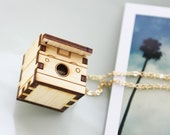 Polaroid Camera Necklace Locket - Wood Vintage Camera Locket