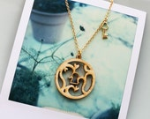 Lock and Key SALE Necklace, Skeleton Key Victorian Style Ornate Necklace in Gold