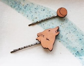 Hair Pin Set - Wolf Howling at Moon Canine Leather Hair Accessory