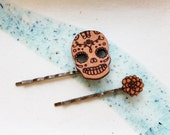 Skull Hair Pin Set - Dia De Los Muertos Candy Skull and Chrysanthemum Hair Accessories
