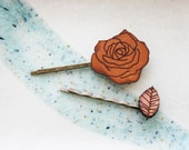 Rose Flower Hair Pin Set - Leather Bobby Pin Hair Clip Barrette Set
