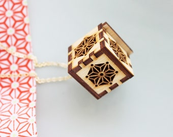 Locket Necklace - Star, Asanoha Geometric  Japanese Pattern Wood Locket Necklace
