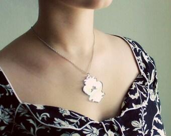 Victorian Mirror Necklace - Rabbit Pendant