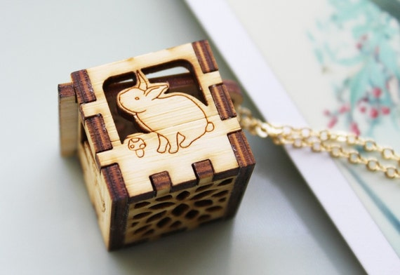 Woodland Animals Locket - Rabbit, Deer, Squirrel, Bear, Leaves