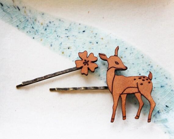 Hair Pin, Flower & Deer Set
