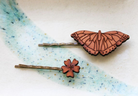 Butterfly Hair Pin Set - Butterfly and Flower Bobby Pin Hair Clip Barette