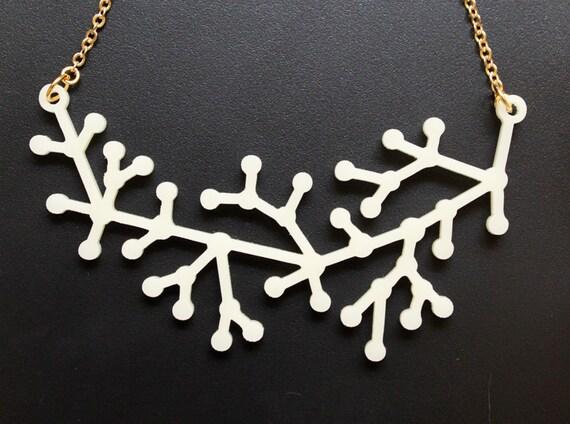 White Neuron Necklace