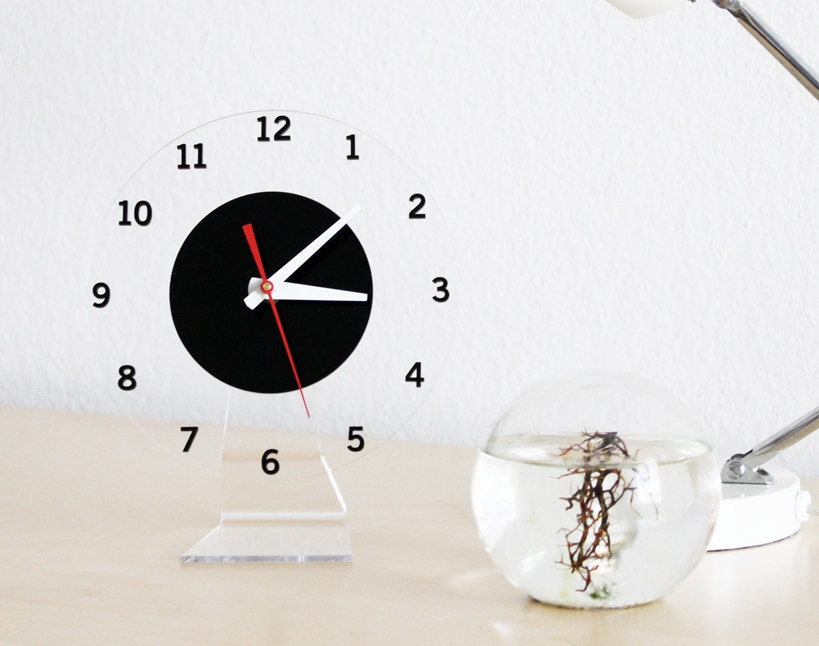 Floating Numbers Modern Wall or Desk Clock by iluxo on Etsy