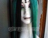 Aqua stripe human hair clip in side fringe set