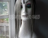 PLEASE HELP NANCY - Platinum Blonde/Black two tone human hair clip in fringe