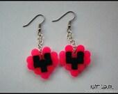 8 Bit Neon Pink & Black Heart Earrings Fuse/Perler/Hama