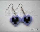 8 Bit Light Purple & Black Heart Earrings Fuse/Perler/Hama