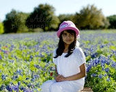 Pink Crochet Sun Hat for Child, Your Choice of Bow Ribbon, XXL Size (Item 599)