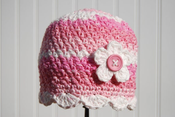 Crochet Beanie Hat, Pink White with Flower and Button Center, Pink Toddler Beanie Hat Baby Beanie Hat, 12 Months to 3 Years Size (Item 587)