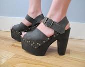 vintage Luichiny platform sandals- wooden heel clogs - charcoal leather - sky high ankle strap peep toe platform shoes - sz 8.5 or 9