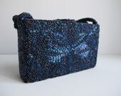 vintage 1950s beaded purse - peacock effect beads - 50s box clutch bag