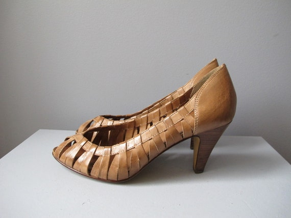 RESERVED do not purchase vintage 9 West camel brown woven cage wooden stacked high heel open toed sandal pumps sz 7.5 nine west