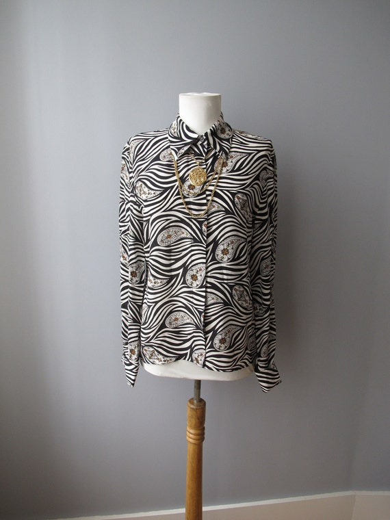 RESERVE vintage silk blouse - zebra print and paisley - long sleeve button up shirt