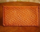 Brown Leather Woven Hand Tooled Mexican Floral Wallet