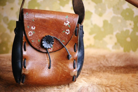 Hippie/Floral Hand Tooled Brown/Black Leather Purse/Handbag