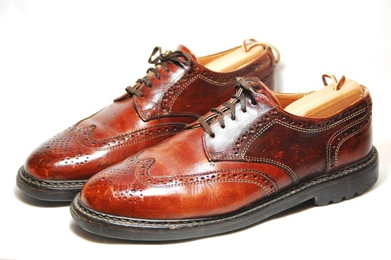 Mens 10 1/2 D Lace Up Leather Brogue Oxfords/Wingtips