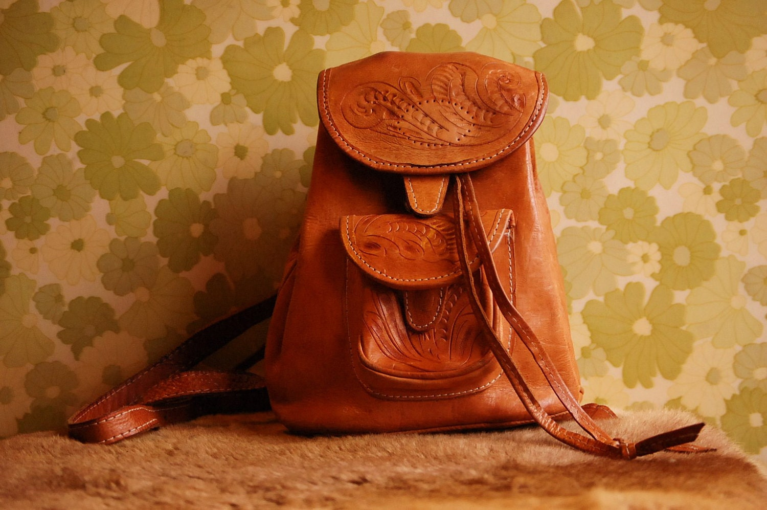 Hand Tooled Small Leather Backpack